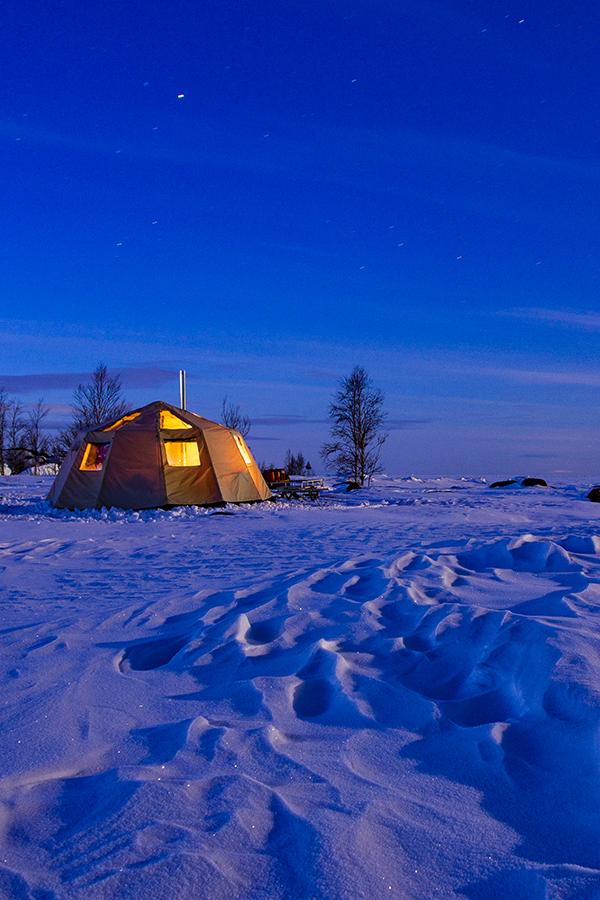 Arctic lavvu in moonlight,nordguide